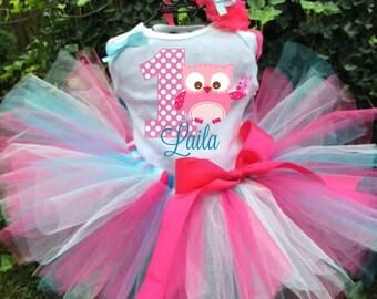 Personalized Pink and Blue Owl Birthday Three Piece Tutu Set - Owl Tutu Outfit - 1st Birthday
