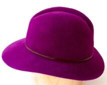Purple Women's Hat- Women's Felt Hat- Gift For Her- Fall Fashion- Winter Hat- Winter Accessories- Violet Hat- Custom Color Hat- Fedora Hat