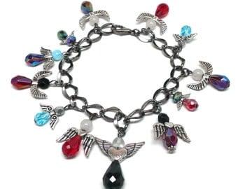 chunky charm bracelet twelve protection angels gunmetal chain
