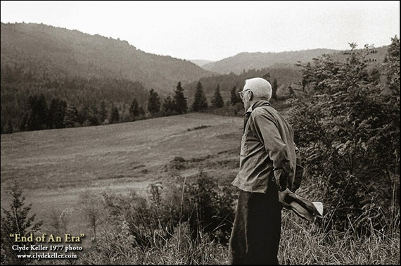 Oregon Pioneer, END OF ERA, Clyde Keller Photo, Fine Art Print, Black and White, Signed, Cover photo for 1978 Valley People
