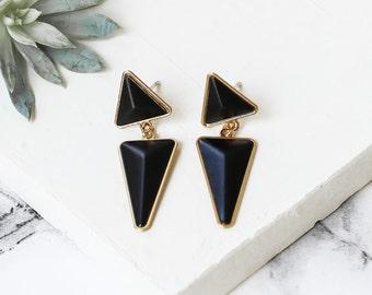 Jagger Earrings, Post Earrings, Triangle Earrings, Dangle Earrings, Black Earrings, Golden Earrings