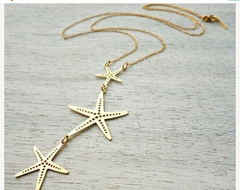 Sale 20% OFF Long Starfish Necklace, pendant jewelry, underwater jewelry