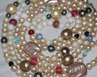 Vintage pearl necklace free shipping