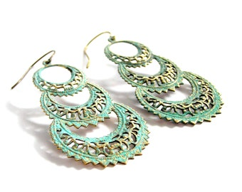 Gypsy Queen Chandelier Earrings, Antiqued Earrings, Large, Lace Look, Verdigris Patina, Seafoam