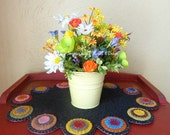 Bright and Cheery Springtime floral in yellow pail
