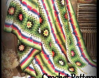 Crochet Afghan Pattern, Digital Download, Granny Square and Ombre Design, PDF 12113569