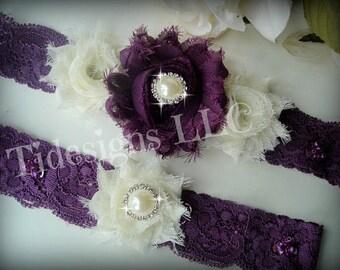 Bridal Garter Set, Wedding Garter Set, Ivory & Purple Garter Set, Rhinestone garter,Vintage Inspired Garter Set