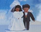 Wedding dolls sewing pattern Butterick 4467, UNCUT Soft doll bride, Soft doll groom, Veil Long dress High heels, Bow tie, cummerbund Tux