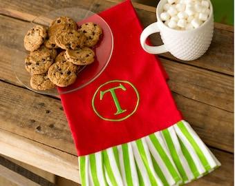 Christmas hand towel monogrammed embroidery hostess gift holiday ideas newlyweds personalized tea towel coastal living BeachHouseDreams