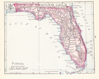 1908 State Map Florida - Vintage Antique Map Great for Framing 100 Years Old