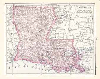 1908 State Map Louisiana - Vintage Antique Map Great for Framing 100 Years Old