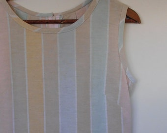 ON SALE...pale pastel stripes...vintage fabric shift with dropped waist