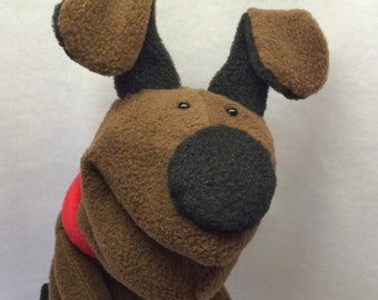 Mini-sized Puppy Hand Puppet with a red collar (moving mouth)