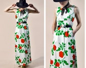 60s Malia Honolulu MOD Red Floral Maxi Dress | Small
