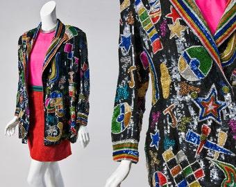 80s Amen Wardy geo longline sequin blazer! Medium