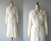 New Baroque dress | vintage 1970s crochet dress | cream crochet 70s dress