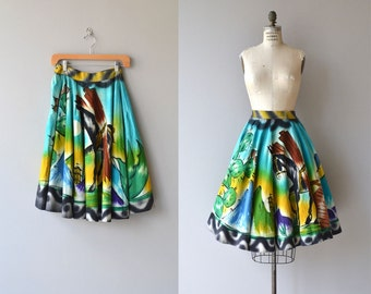 Campeche skirt | 1950s mexican skirt | painted mexican 50s circle skirt