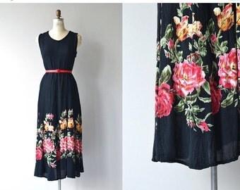 25% OFF.... Rose Path dress | vintage cotton gauze dress | floral print 80s dress