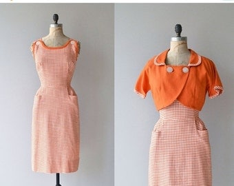 25% OFF.... Ice Cream Social dress | vintage 1950s gingham dress | 50s cotton day dress