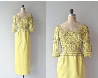 25% OFF.... Last Caliph dress   vintage 1960s beaded dress   silk 60s formal dress