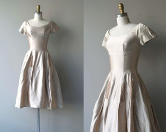 Rose Moon dress | vintage 50s party dress | silk satin 1950s dress