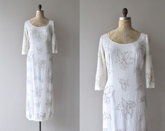 Crowned Calla dress | vintage 1960s beaded gown | white beaded 60s dress