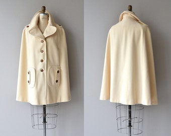 Juli de Roma cape | vintage 1970s wool cape | cream wool cape coat
