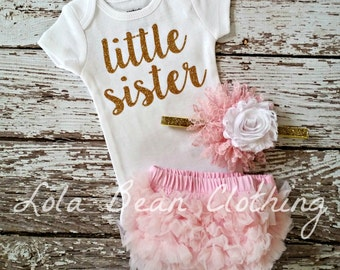 Baby Girl Take Home Outfit Newborn Baby Girl Little Sister Bodysuit Pink Bloomers Pink & Gold Headband Set Gold lolabeanclothing