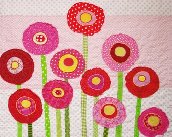 """Poppy baby quilt -wall art quilt- in pinks, reds and yellows on pink background """"Poppy Garden"""" READY TO SHIP"""