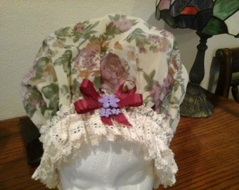Fancy Shower Cap, with Beige Cotton Trim Fits EX Large and Large, Free Shipping
