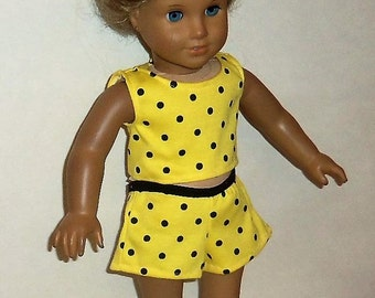 Yellow Shorts Outfit, Cotton, Cropped Tank Top, Polka Dots, 18 Inch Doll,  Matching Shorts, American Made, Girl Doll Clothes