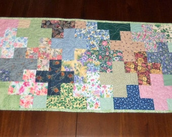 Quilted Table Runner, 16x31 inches, Scrappy Table Topper, Floral Crosses, Machine Quilted