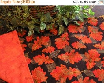 July Sale Halloween Table Runner Orange Batik Print Reversible Fall Leaves Padded