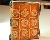 Natural Leather-bound Pocket Journal with Estonian ornaments