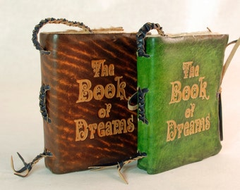 Pocket size Leather Journal. The Book of Dreams. Brown and Green