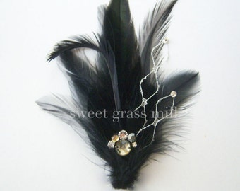 BELLA NOTTE - Black Feather Jewel Crystal Netting Brooch or Clip