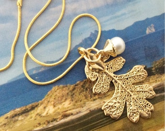 Real Leaf Jewelry, Golden Oak Leaf, 24K gold dipped pendant necklace, new pearl Acorn charm,gold snake chain