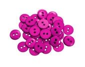 Set of 38 Smooth Round Plastic 2-Holed Buttons - The Simplest Hot Gem Pink-ish Purple (11mm)