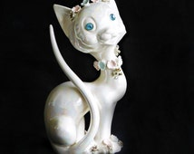 Vintage Lefton Cat Figurine Iridescent Pearl Glaze Sparkle Eye Kitty & flowers gold glazed spaghetti details, Kitschy 1950s Home Decor CUTE