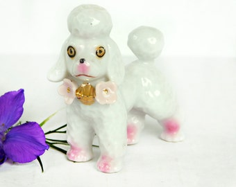 Vintage Poodle, Textured Porcelain Figurine wearing a flowered collar & golden bell, Kitschy Japan 1960s Export Dog Collectible MINT