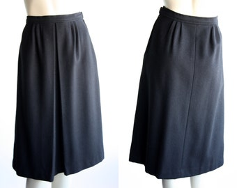 Vintgage Black Wool Pleated Skirt