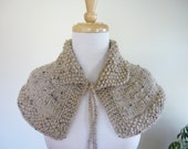 Knit Cape Outlander Inspired Collar Highlands Capelet Outlander Knits Shoulder Wrap Beige with Flecks of Brown/Black - Ready to Ship