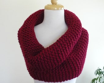 Chunky Knit Cowl Over Size Super Snuggly Cowl Chunky Snood in Wool Blend - Cranberry -  Ready to Ship Direct Checkout