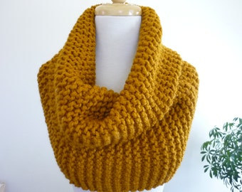Chunky Knit Cowl Over Size Super Snuggly Cowl Chunky Snood in Wool Blend - Butterscotch -  Ready to Ship Direct Checkout