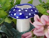 Ceramic Mushroom  Water Tender ceramic plant watering spikes Water Globe System amanita shroomz  BLUE  Fairy garden water system