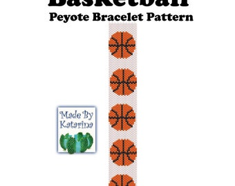 Peyote Bracelet Pattern - Basketball - INSTANT DOWNLOAD PDF - Peyote Stitch Bracelet Pattern - Basketball Pattern - Peyote Basketball