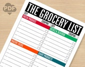 The Grocery List WIDE LINES printable PDF file (instant download)
