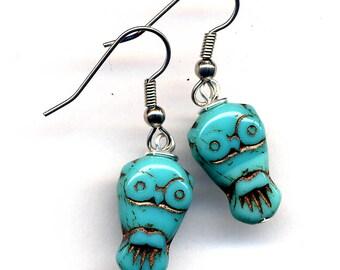Turquoise Owl Earrings, LAST PAIR, Hoot Earrings, Surgical Steel Earrings, Little Owls in Cooper and Teal Earrings, Surgical Steel Jewelry