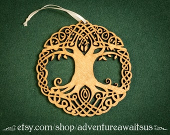 Tree of Life Ornament - wood laser cut maine made celtic symbols holiday Christmas decoration knot knotwork