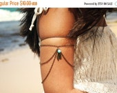 CLEARANCE SALE Hand Chain Bracelet Arm Bracelet Piece Hipster Bronze Chain Feather Charm Turquoise Bead Bohemian Drape Body Jewelry NataliaA